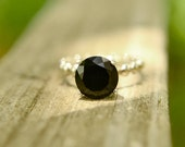 Black Spinel Ring with Silver Bubble Band, Black Diamond Alternative Ring, Handmade Silver Gemstone Ring, Engagement Ring