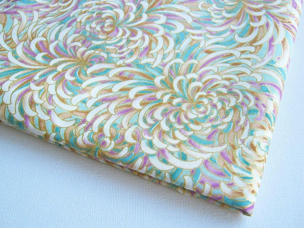 Chrysanthemum Cotton Japanese Kimono Cotton Fabric Purple Pink