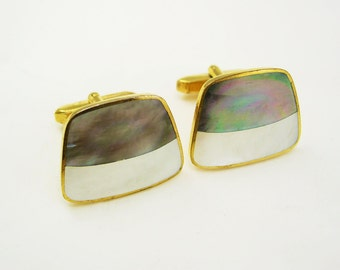 Classic Cuff links Vintage MOP Abalone Cufflinks Inlaid Birthday gift  Business suite attire Wedding groom gift designer gold Signed Asco