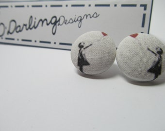 MEGA SALE Banksy Girl with Balloon Fabric Button Earrings