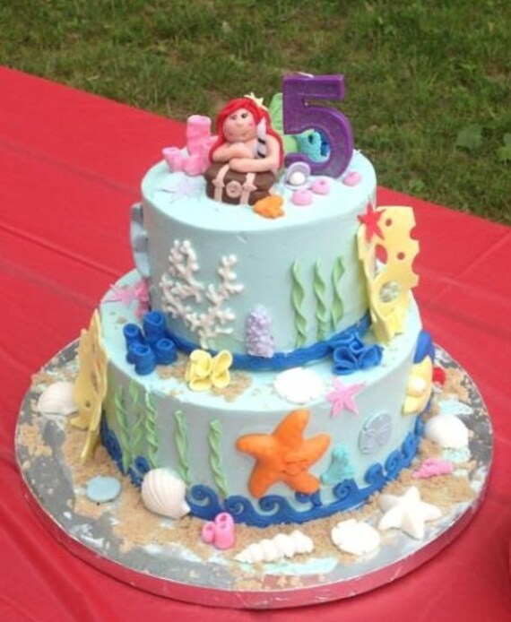 LITTLE MERMAID CAKE Topper Edible Fondant Party Pack Under The