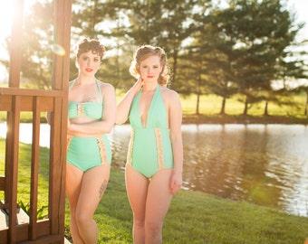 CiCi Ruffle Mint High Waist Halter Two-Piece Bikini
