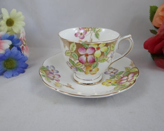 """Vintage 1940s Royal Albert English Bone China Teacup """"Clematis"""" English Teacup and Saucer with Enamel Accents- Stunning Tea Cup"""