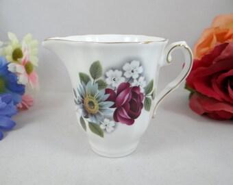 Vintage Royal Grafton Purple Rose English Bone China Porcelain Creamer