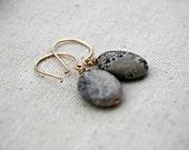 bonsai... gold jasper earrings / grey oval silver leaf jasper & 14k gold filled earrings