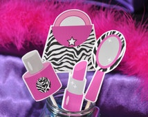 Diva Glam Spa Party Hot Pink zebra print pdf printable cake topper collage sheet INSTANT DOWNLOAD