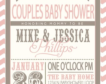 ON SALE! Couples Baby Shower invitation - pink and grey