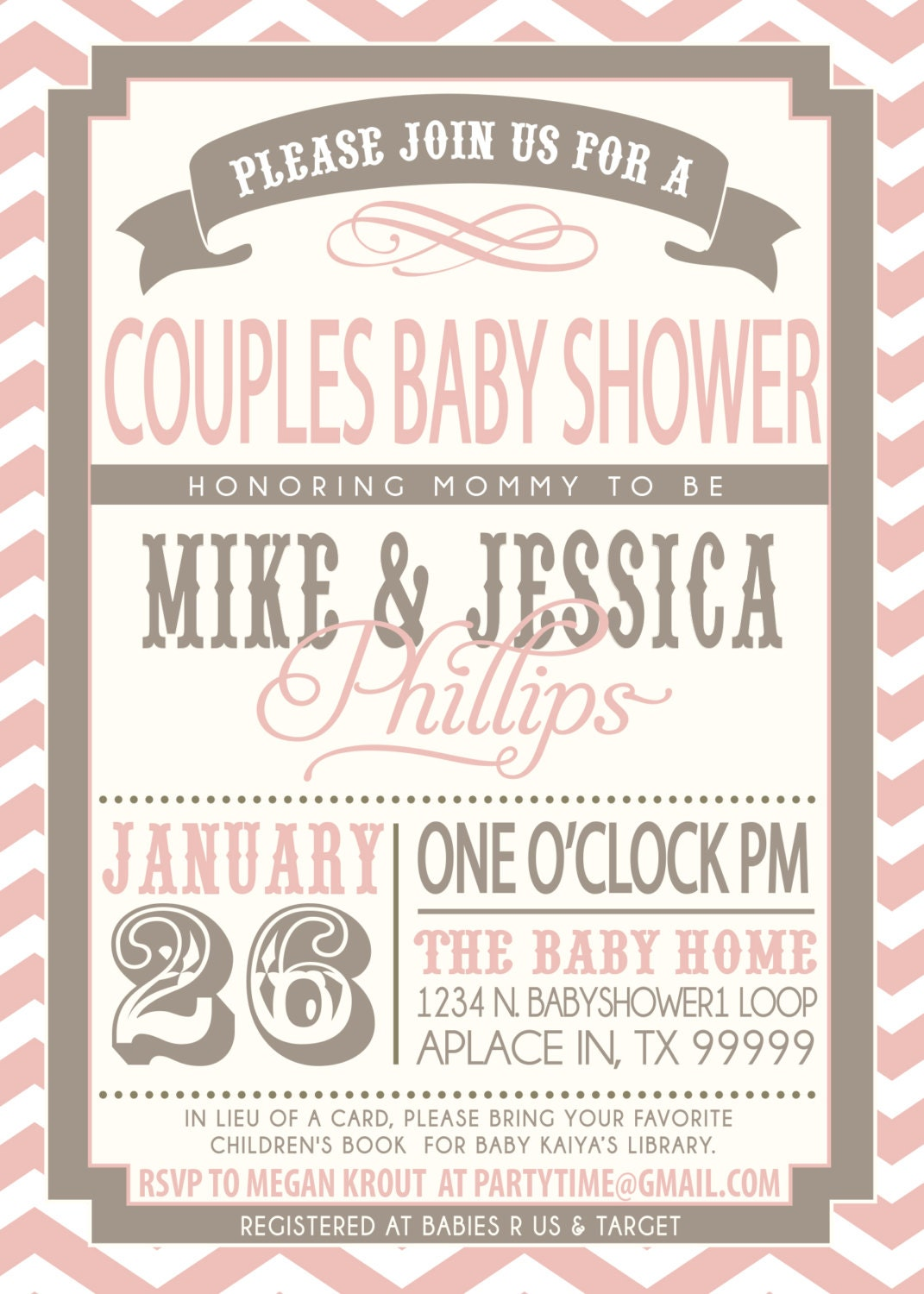on sale couples baby shower invitation pink and grey
