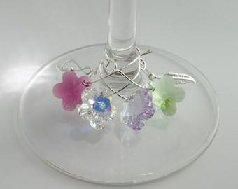Swarovski Crystal Flower wine glass charms - Set of 4 wine glass markers