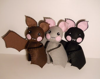 One felt little bat baby stuffed plush - pick a color - black, brown, or grey