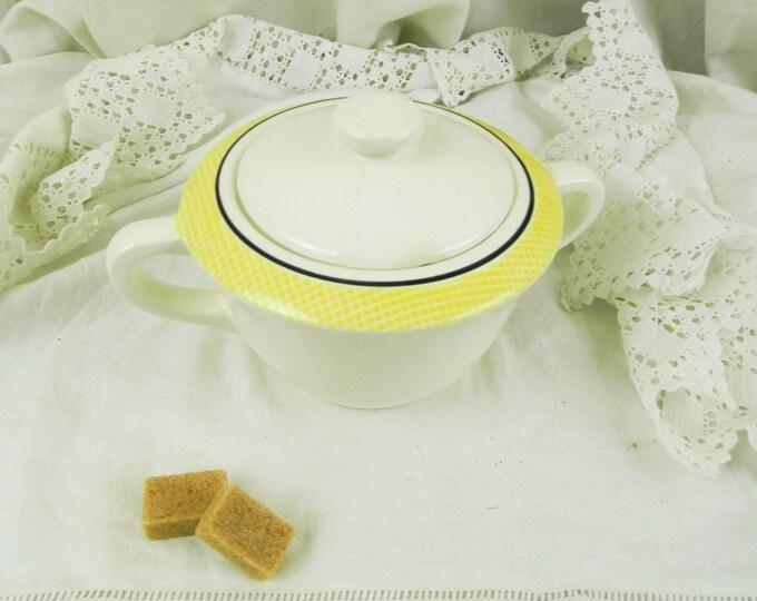 Vintage French Mid Century Ceramic Suagr Bowl / French Decor / Mid Century Decor / Retro Home Interior / Tableware / Coffee Tea / Kitchen /
