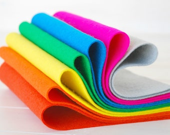 "100% Wool Felt Sheets - ""Breakdance Collection""  - 7 Wool Felt Sheets of 8"" x 12"" -  Wool Felt Sheets in bright neon colors"