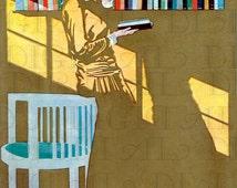 Gorgeous Art Deco Lady READING. Vintage Books  ILLUSTRATION.  Reading DIGITAL Download. Vintage Coles Phillips Print.