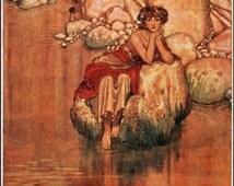 A Sea Sprite. From the WATER Babies.  Fairy Tale Vintage DIGITAL Illustration.  Digital Download. Digital PRINT. W. Heath Robinson