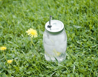 Quart Sized Mason Jar To Go Cup With Stainless Steel Straw 32oz Eco Friendly