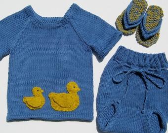 ducky T-shirt, diaper cover and flipflops beach baby 3 months