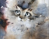 Kitten - Original Watercolor Painting 9x7.5 inches