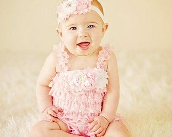 Petti Romper Headband SET,  Pink Lace romper & baby headband, hair bow, outfit, pettiromper girl