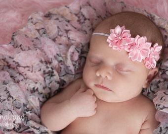 Pink Baby Headband Satin triple headband baby bow hair bow newborn headband girl headband