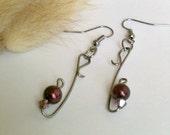 Wire Wrapped Plum Bead Earrings Handmade with Swarovski Crystals