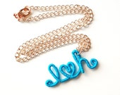 Initials and Heart Threaded Wire Wrapped Necklace Custom Order