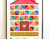 Alphabet House Print for Children. Kids Room Art. Play Room. Bright and Colorful Pattern.