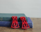 RESERVED Retro Vintage Red Diamante Hair Clips