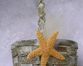 Flower Girl Basket Beach Blue Gray with Sugar Starfish