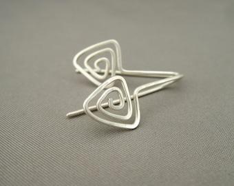 Triangle Spiral Sterling Silver Drop Earrings