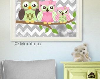 Owl Print for Nursery ,Baby Girl Owl Family Nursery Art, Whimsical Owl Art Print , Girls Room Decor