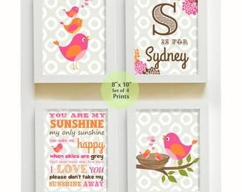 Nursery Art - You are My Sunshine Prints for Nursery or Kids Room,  Baby Nursery Decor, set of four  8x10