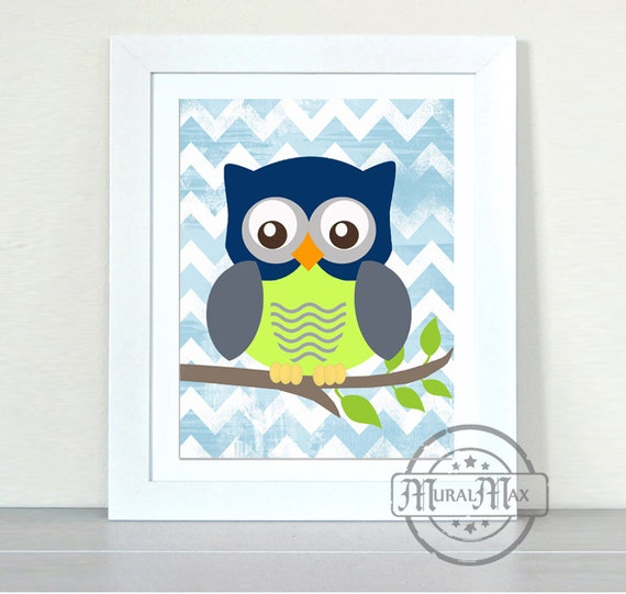 Baby Boy Nursery Owl Print Wall Art Boys Woodland Owl Nursery