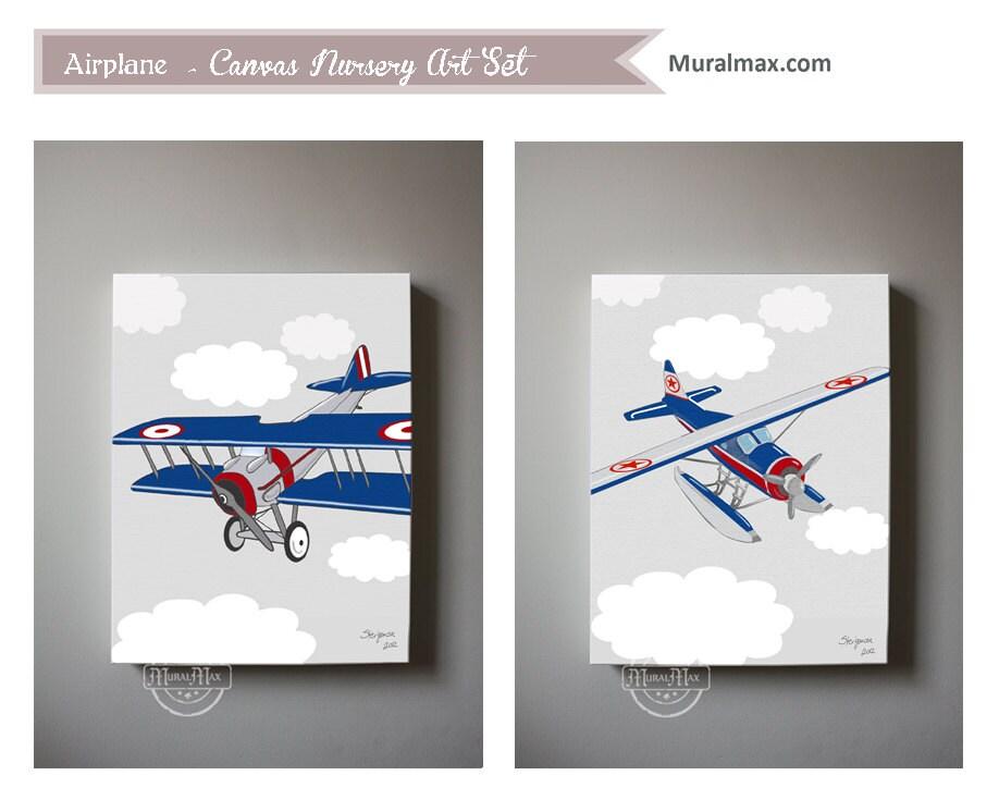 Airplane boys wall art airplane canvas art boys by muralmax for Airplane wall decoration