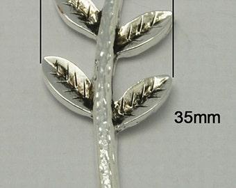 2PCS Antique Silver Vintage Style Leaf Branch Connector