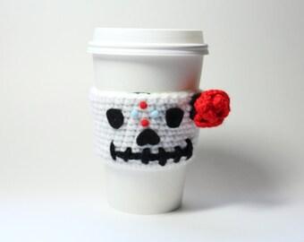 Sugar Skull Coffee Cozy, Day of the Dead Can Wrapper, Coffee Sleeve, Dia De Los Muertos Crochet, Drink Cup Holder, Java Jacket