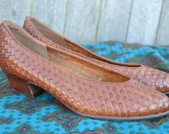 Vintage Leather Woven Heels 7.5