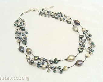 Black gray freshwater pearl necklace on silk thread