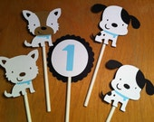 12 puppy cupcake toppers, dog cupcake topper, dalmatians, terriers, baby shower, first birthday, baby boy, baby girl, kids party