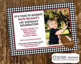 Alabama Football Invitation with Photo, Football Invitation, Houndstooth Invitation, Alabama Football Birthday, Houdstooth Birthday Invite