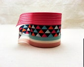 Tribal Triangles and Lines Washi Tape Set  - Bright Pink and Soft Blue Washi Tape / Decorative Tape / Japanese Masking Tape