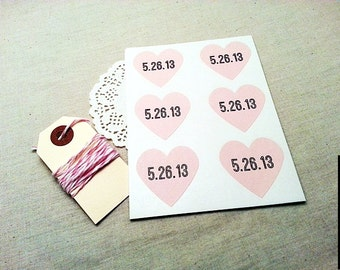 144 Custom Wedding Date PInk Heart Stickers / Envelope Seals / Personalized Labels / Wedding Supplies