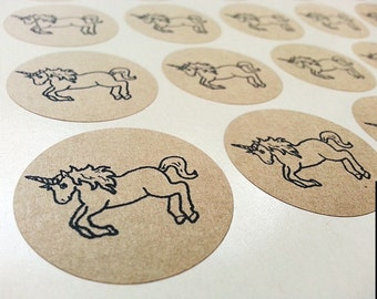 30 Unicorn Round Kraft Stickers Round Labels 1.5-inch Envelope Seals Scrapbook Embellishments
