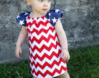 Fourth of July Patriotic Chevron Red White Blue Peasant Dress - Baby Girl