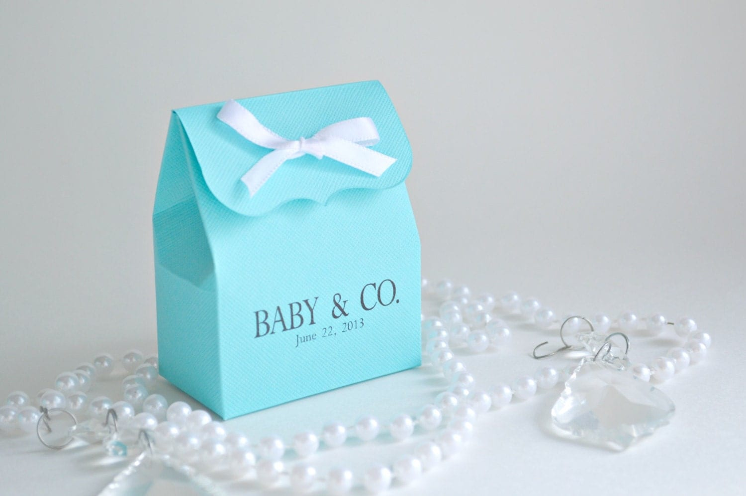bridal shower favor bags in blue with white ribbon by sosiatogo