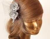 BIRDCAGE VEIL. Silver veil .Romantic wedding Headpiece with beautifull,delicate Flowers.BRIDAL Fascinator
