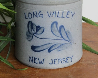 Vintage Long Valley New Jersey Stoneware Kitchen Utensil Holder, Union Stoneware