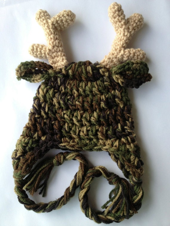 Items Similar To Free Ship Camo Antler Hat On Etsy