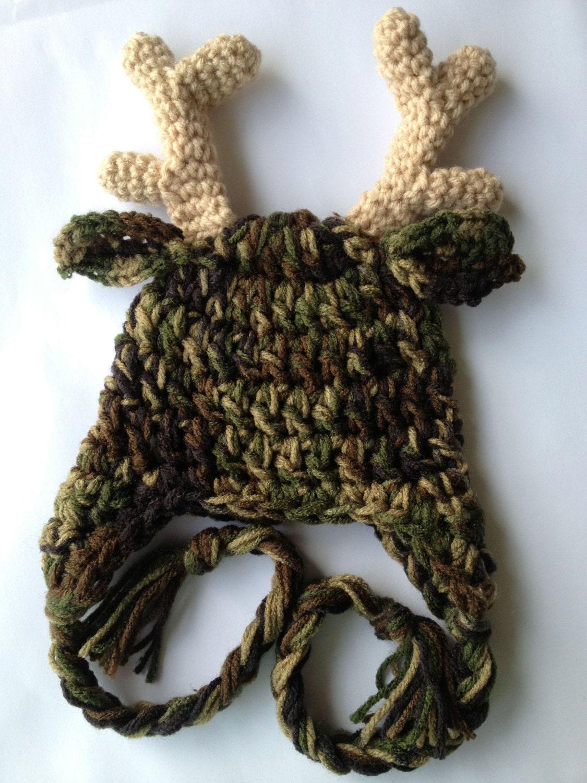 Free Ship Camo Antler Hat By Crochetforkiddos On Etsy