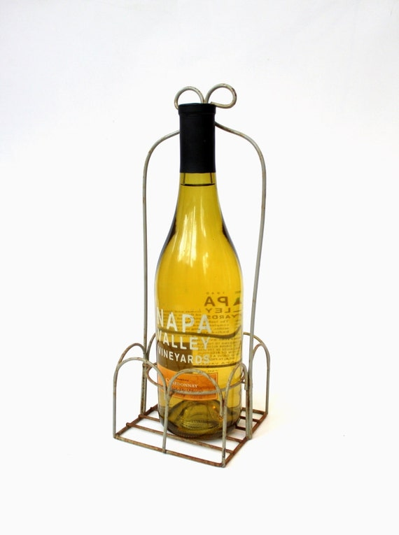 Metal wine bottle carrier vintage wine accessories - Wire wine bottle carrier ...