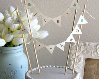 Just Hitched Burlap Alternative Bunting Banner Wedding Cake Topper, Mini Bunting Banner, Just Hitched Cake Topper, Mini Cake Topper